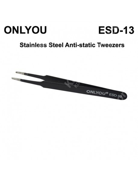 ONLYOU ESD Stainless Steel Precision Straight Anti-static Tweezers - Black