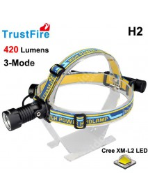 TrustFire H2 Cree XM-L2 420 Lumens 3-Mode LED Headlamp - Black (1 x TrustFire   3400mAh 18650)