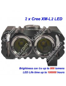 TrustFire TR-D016 2 x Cree XM-L2 LED 800 Lumens 3-Mode Bike Light with Battery Set