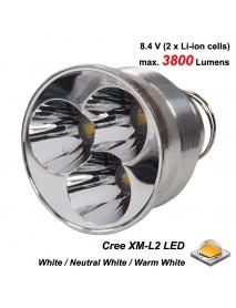 Triple Cree XM-L2 LED 3800 Lumens Drop-in Module for TrustFire 3T6 Flashlight (Dia. 51mm)