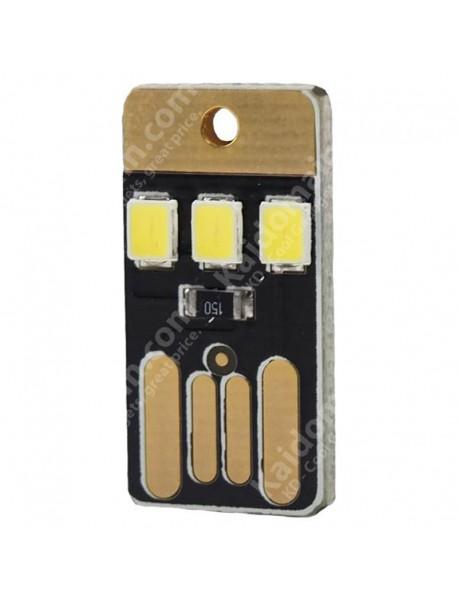 Single Sided USB 3 x LED 0.2W White Mini USB LED Light - Black (1 pcs)