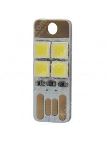 Double Sided USB 4 x LED 0.5W White 5600K Mini USB LED Light - White (1 pcs)
