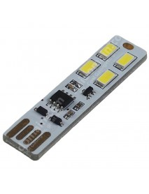 Double Sided Adjustable USB 4 x LED 0.5W White Mini USB LED Light - White (1 pcs)