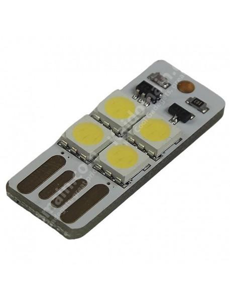 Single Sided Touchable USB 4 x LED 0.5W White Mini USB LED Light - White (1 pcs)