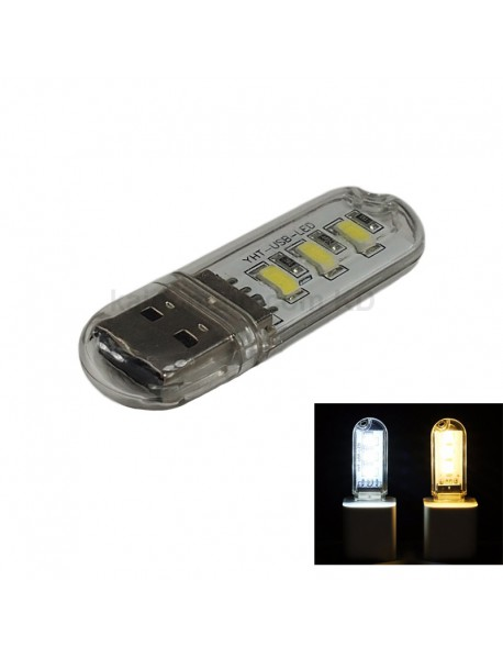 USB Powered 3xLED USB LED Light - Transparent (2 pcs)