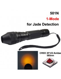 501N Cree XP-E2 Amber 585nm 1-Mode Jade Flashlight - Black ( 1x18650 )
