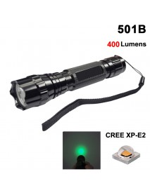 501B Cree XP-E2 Green 530nm 3V - 4.5V OP P60 LED Flashlight - Black ( 1x18650  )