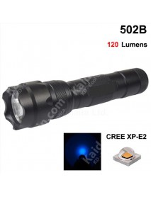 502B Cree XP-E2 Blue 470nm 3V - 4.5V 3-Mode OP P60 LED Flashlight - Black ( 1x18650 )