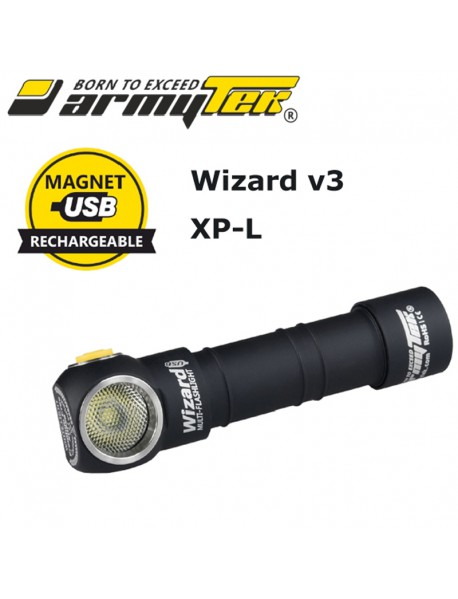 Armytek Wizard v3 XP-L Magnet USB White 1250 lumens 6-Mode LED Flashlight (1x18650 / 2xCR123A)