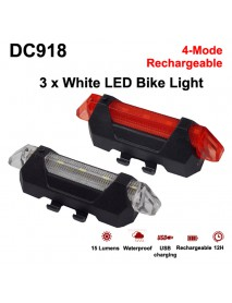 DC918 High Power Red Light 4-Mode USB Rechargeable Bike Tail Light (1 pc)