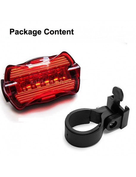 5 x LED 7-Mode Red Safety Bike Rear Light with Mount (2 x AAA) - Red