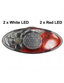 KXC-776W Red and White LED 4-Mode Safety Bike Rear Light - Black ( 2xCR2032 )