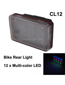 CL12 12 x Multi-color LED 3-Mode Bike Rear Light - Black ( 3xAAA )