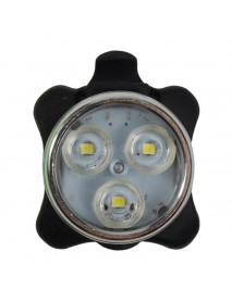 3 x LED 4-Mode White USB Rechargeable Safety Bike Light - Black