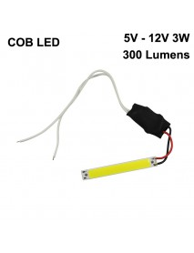 60mm (L) x 8mm (W) COB 5V - 12V 3W 100mA 300 Lumens COB LED Emitter