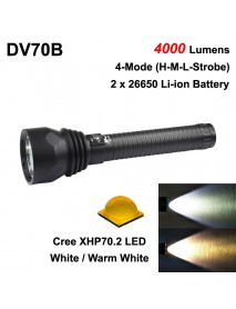 DV70B Cree XHP70.2 4000 Lumens 4-Mode Diving LED Flashlight ( 2x26650 )