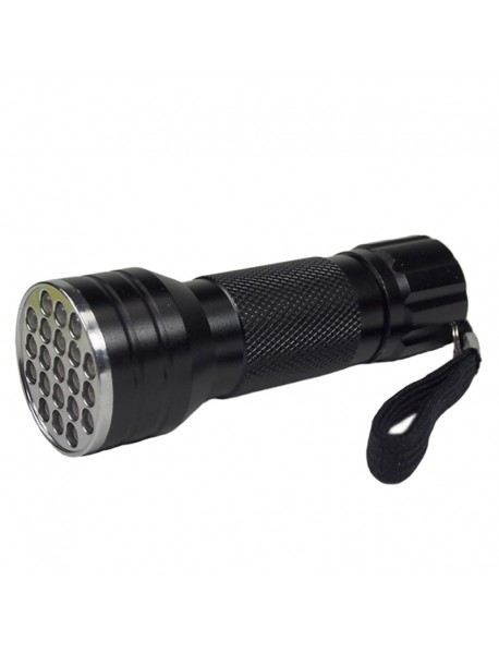 K-UV21 21 x UV LED 395nm 1-Mode Mini UV LED Flashlight - Black ( 3xAAA )