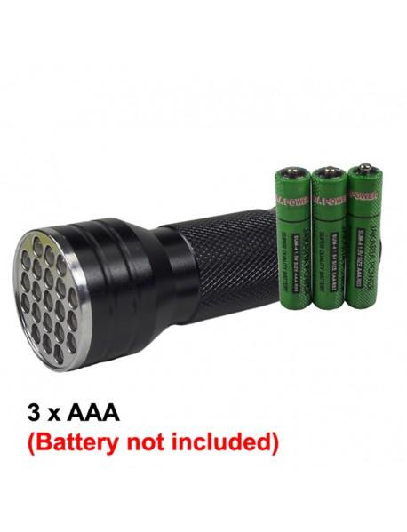 K-UV21 21 x UV LED 395nm 1-Mode Mini UV LED Flashlight - Black ( 3xAAA )