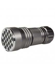 K-UV31 21 x UV LED 395nm 1-Mode Mini UV LED Flashlight - Silver ( 3xAAA )