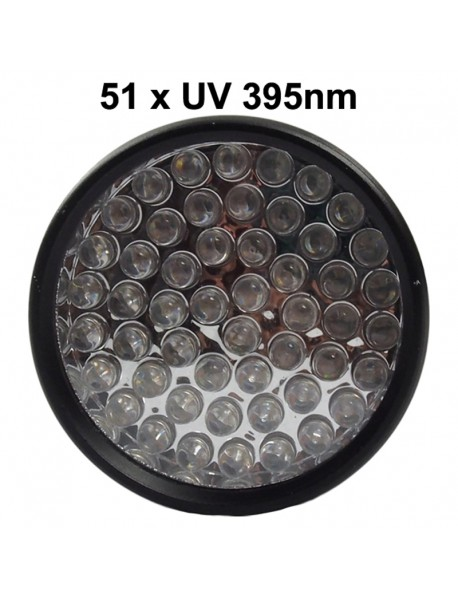 K-UV51 51 x UV LED 395nm 1-Mode Mini UV LED Flashlight - Black ( 3xAAA )