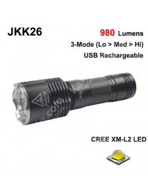 JKK26 Cree XM-L2 Neutral White 5000K 980 Lumens 3-Mode LED Flashlight with USB Charging Head - Black ( 1x18650/1x26650 )
