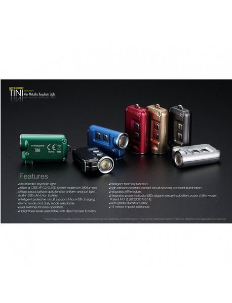 NiteCore TINI Cree XP-G2 S3 380 Lumens Mini Metallic Keychain Light