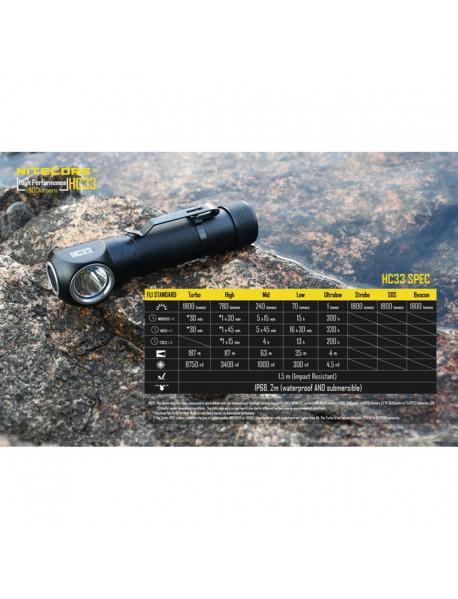 NiteCore HC33 CREE XHP35 HD LED 1800 Lumens Headlamp(1 x 18650 / 2 x CR123) – Black
