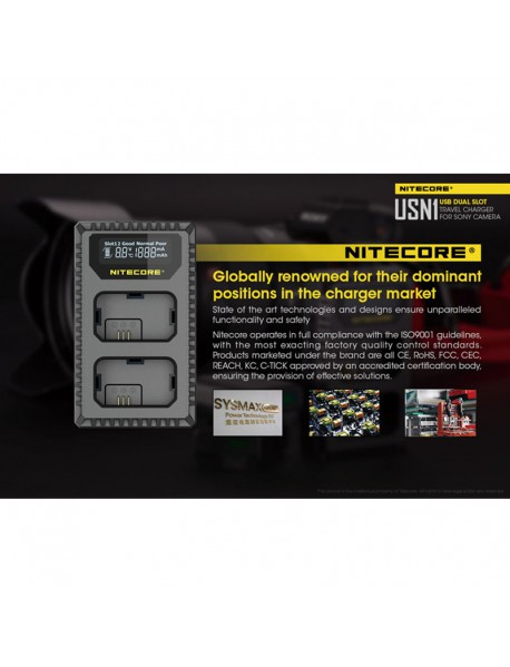 NiteCore USN1 USB dual-slot Charger for Charging NP-FW50 Batteries - Black
