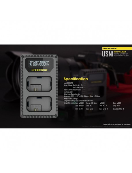 NiteCore USN1 USB dual-slot Charger for Charging NP-FW50 Batteries - Black