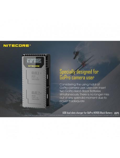 NiteCore UGP5 USB Dual Slots Charger for GoPro Hero5 Black Battery - Black