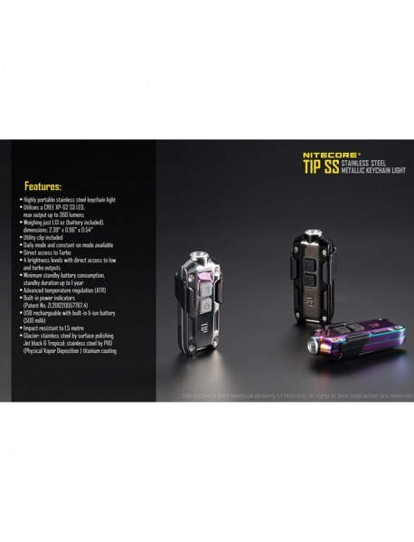 NiteCore TIP SS CREE XP-G2 S3 LED 360 Lumens Flashlight