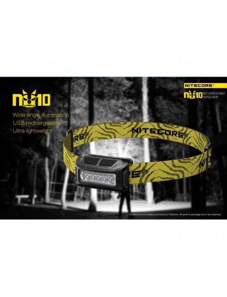 NiteCore NU10CRI Rechargeable High performance LED 115 Lumens Lightweight Headlamp