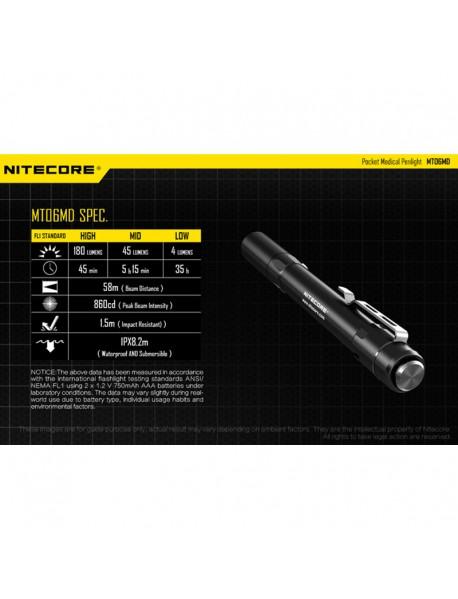 NiteCore MT06MD Nichia 219B LED 180 Lumens SMO Pocket Medical Penlight (2 x AAA)