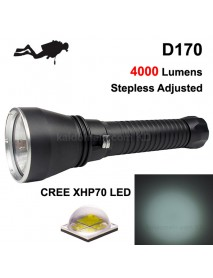 D170 Cree XHP70 4000 Lumens Stepless Adjusted Diving LED   Flashlight - Black ( 2x26650 )