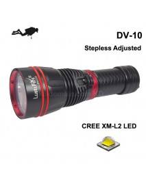 LusteFire DV-10 Cree XM-L2 1000 Lumens Stepless Adjusted   Diving LED Flashlight - Black ( 1x18650/1x26650 )