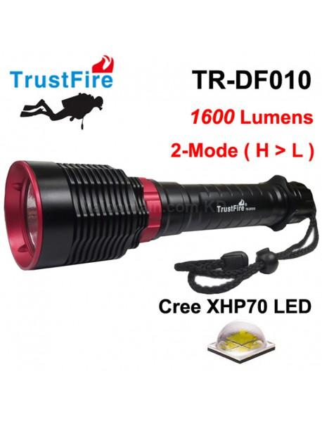 TrustFire TR-DF010 Cree XHP70 1600 Lumens Diving LED Flashlight - Black (   2x26650/2x32650 )