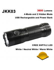 JKK03 Cree XHP70.2 LED 3600 Lumens 6-Mode USB Rechargeable LED Flashlight ( 3x18650 )