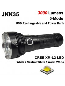 JKK35 3 x Cree XM-L2 U2 LED 3000 Lumens 5-Mode LED Flashlight with USB Portable Power Bank ( 3x18650 )