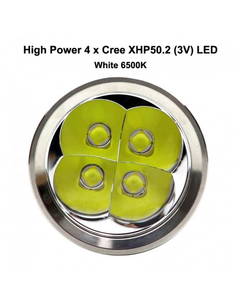 JKK80 4 x Cree XHP50.2 10000 Lumens USB Type-C Rechargeable 18650 Flashlight with Power Bank (3x18650)