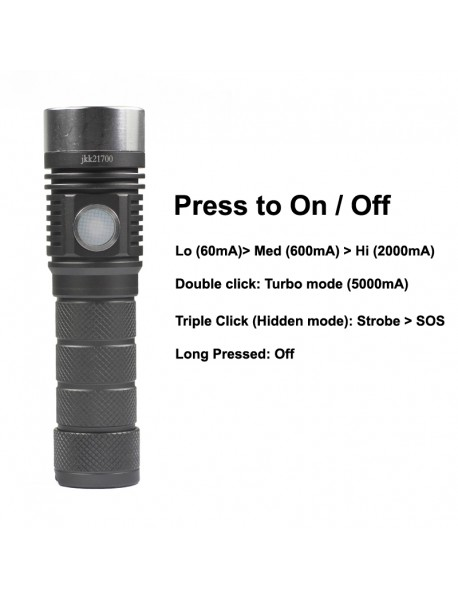 Newest JKK21700 Luminus SST-40 White 6500K 1600 Lumens 6-mode Type-C Rechargeable LED Flashlight ( 1X21700 )