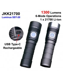 Newest JKK21700 Luminus SST-20 1300 Lumens 6-mode Type-C Rechargeable LED Flashlight ( 1X21700 )