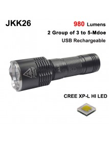 JKK26 Cree XP-L HI 980 Lumens 2 Group of 3 to 5-Mode USB Rechargeable LED Flashlight - Black ( 1x18650/1x26650 )