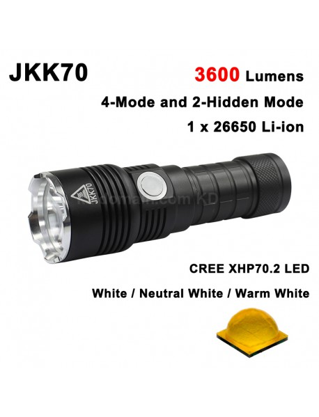 High Power JKK70 Cree XHP70.2 LED 3600 Lumens 6-Mode LED Flashlight - Black ( 1x26650 )