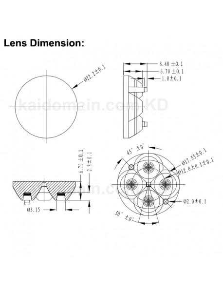4-in-1 22.2mm (Dia.) x 8.4mm (H) Quad Optical Lens (1 pc)