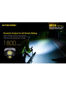 NiteCore BR35 CREE XM-L2 U2 LED 3-Mode 1800Lumens SMO Bike Light(Rechargeable Li-ion)