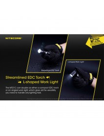NiteCore MT21C CREE XP-L HD V6 1000 Lumens Multifunctional 90°Adjustable LED Flashlight (1 × 18650 ,2 × CR123 ,2 x RCR123)
