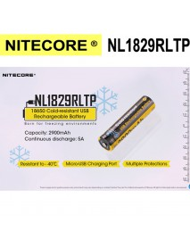 NiteCore NL1829RLTP 3.6V 2900mAh 18650 Cold-resistant USB Rechargeable Battery - 1 Piece