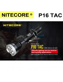 NiteCore P16TAC CREE XM-L2 U3 LED 1000Lumens SMO Flashlight(1 × 18650 ,2 × CR123)