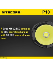 NiteCore P10 Cree XM-L2 T6 800 Lumens Neutral White SMO LED Flashlight (1 x 18650 / 2 x CR123)