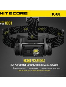 NiteCore HC60 Cree XM-L2 U2 1000 Lumens White Light SMO LED Headlamp (1 x 18650 / 2 x CR123)